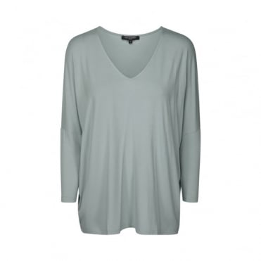 V Neck 3/4 Sleeve Oversized Top in Silver Blue