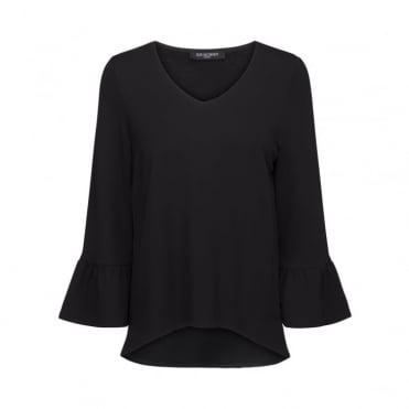V Neck Long Frill Sleeve Blouse in Black