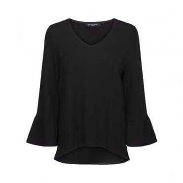 V Neck Long Frill Sleeve Blouse in Black