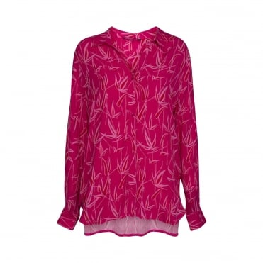 Viscose Bamboo Print Shirt in Warm Pink