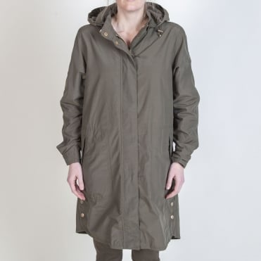 Water Resistant Parka Rain Coat in Army