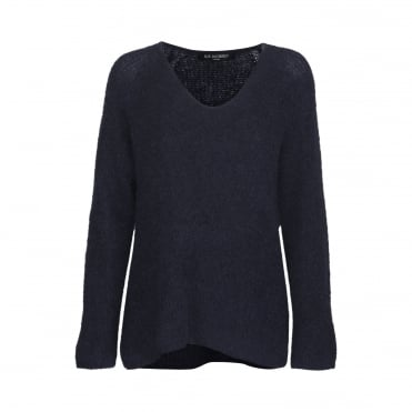 Wool Mix Easy V Neck Knit in Blue Night