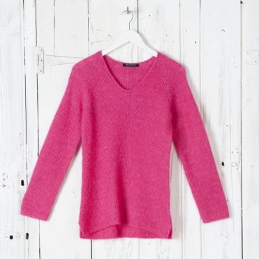 Wool Mix Easy V Neck Knit in Warm Pink