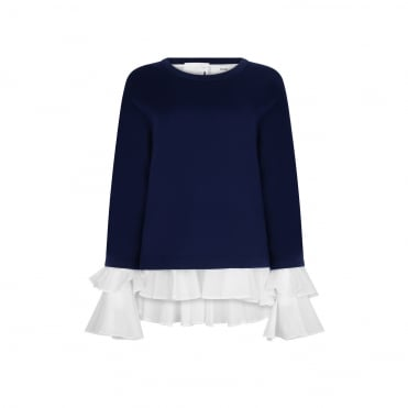 Ana Cotton Shirt and Knit 2 Piece in Navy