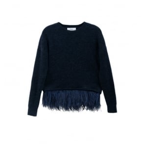 Icelyn Feather Jumper in Navy
