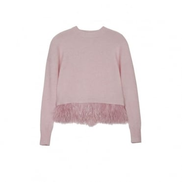 Icelyn Feather Jumper in Pale Pink