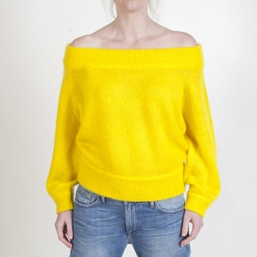 Imi Off The Shoulder Mohair Knit in Lemon