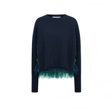 Opera Tulle Layered Jumper in Navy