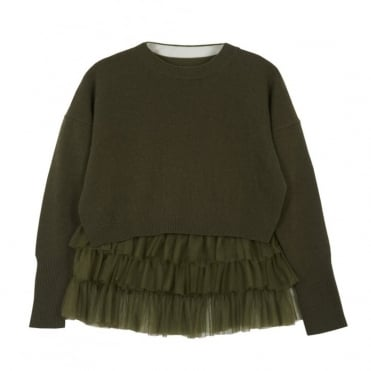 Opera Tulle Top in Olive