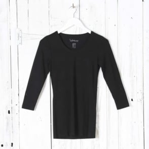 Jupiter 3/4 Sleeve Top in Black