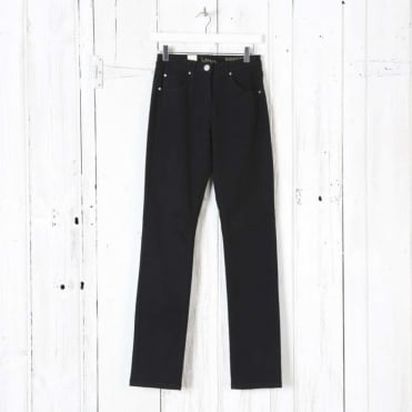 Laura Moleskin Narrow Trousers in Black