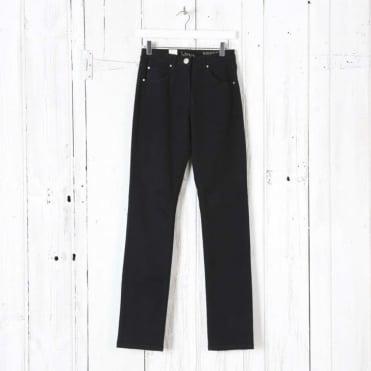Laura Moleskin Narrow Trousers in Black