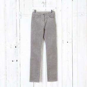 Laura Narrow Leg Cord Trousers in Grey Cloud