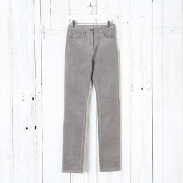 Laura Narrow Leg Cord Trousers in Grey Cloud