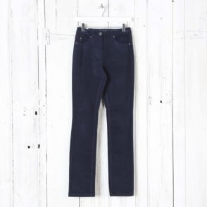 Laura Narrow Leg Cord Trousers in Midnight Navy