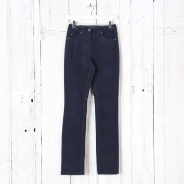 Laura Narrow Leg Cord Trousers in Midnight Navy