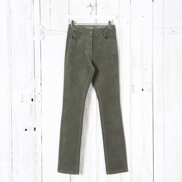 INTOWN Laura Narrow Leg Cord Trousers in Olive