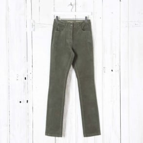Laura Narrow Leg Cord Trousers in Olive
