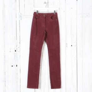 Laura Narrow Leg Cord Trousers in Red Merlot