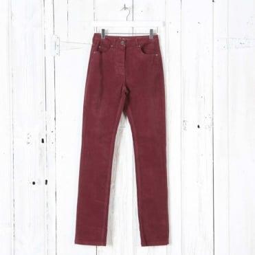 Laura Narrow Leg Cord Trousers in Red Merlot