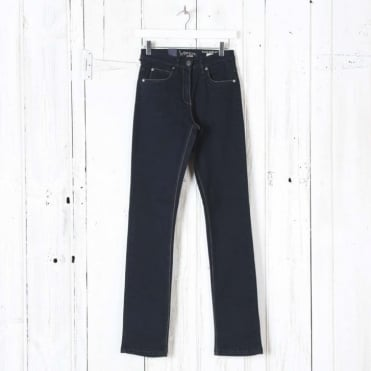 Laura Narrow Leg Denim Trousers in Blue Black