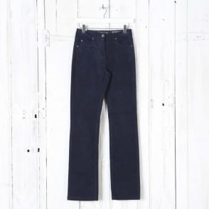 Laura Straight Leg Cord Trouser in Midnight Navy