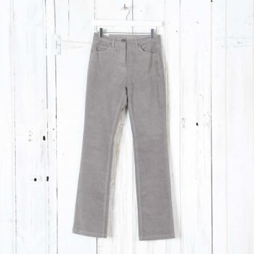 Laura Straight Leg Cord Trousers in Grey Cloud