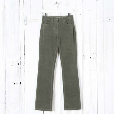 Laura Straight Leg Cord Trousers in Olive