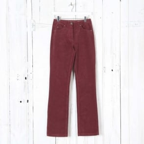 Laura Straight Leg Cord Trousers in Red Merlot