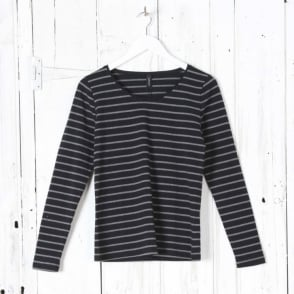 Long Sleeve Round Neck Stripe Top in Black