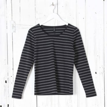 Long Sleeve Round Neck Stripe Top in Black