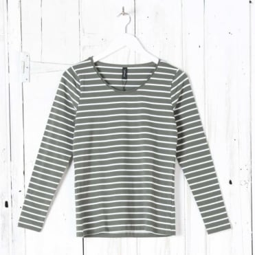 Long Sleeve Round Neck Stripe Top in Olive