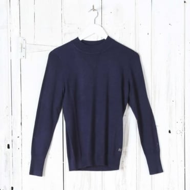 Long Sleeve Turtle Neck Top in Midnight Navy