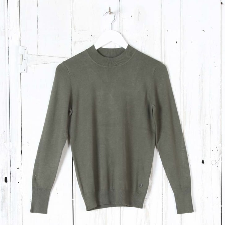 INTOWN Long Sleeve Turtle Neck Top in Olive