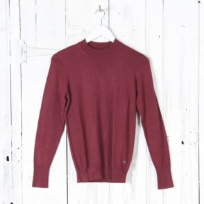 Long Sleeve Turtle Neck Top in Red Merlot