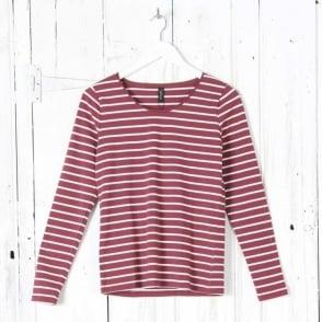 L/S Round Neck Stripe Top in Red Merlot