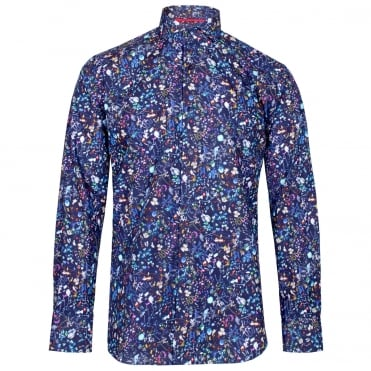 Fantasy Floral Print Shirt in Navy