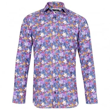 Machine Smudge Floral Print Shirt in Purple