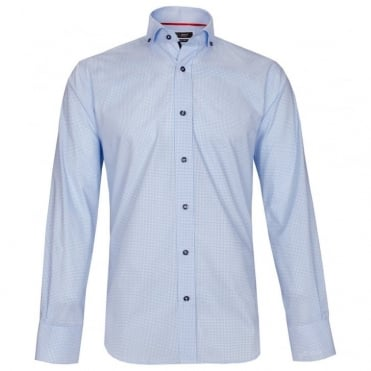 Memphis Tiny Check Shirt in Aqua