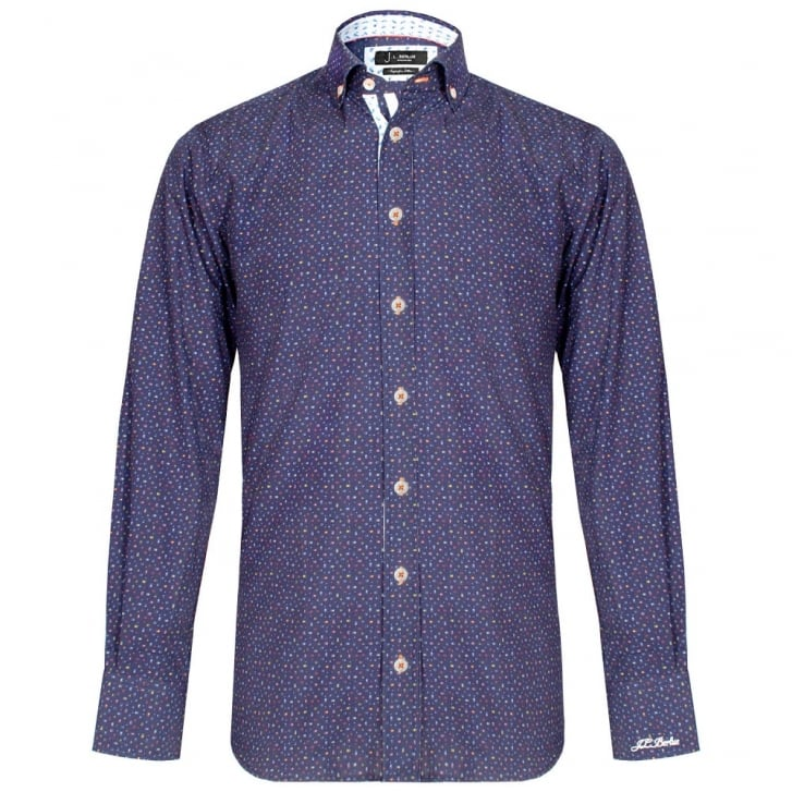 J.L.BERLUE Reagan Multicolour Squares Shirt in Navy
