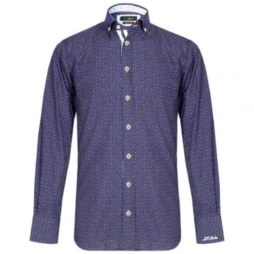 Reagan Multicolour Squares Shirt in Navy