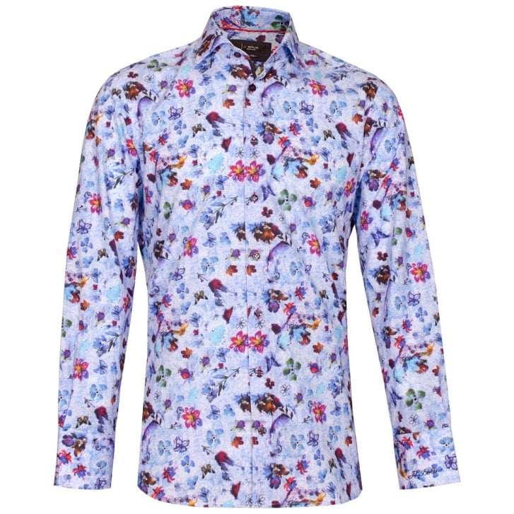 J.L.BERLUE Smudge Floral Print Shirt in Blue
