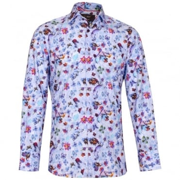 Smudge Floral Print Shirt in Blue