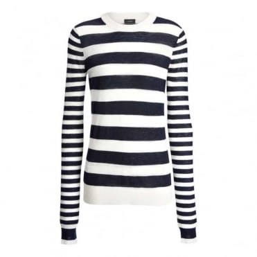 Cashair Stripe Round Neck Long Sleeve Sweater