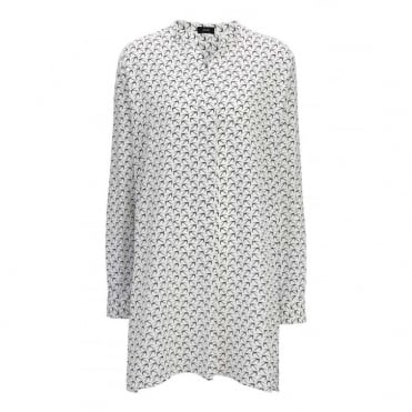 New Dara Bird Print Caro Crepe de Chine Blouse