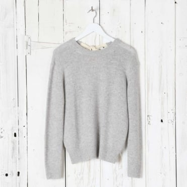 Open Cashmere Round Neck Long Sleeve Sweater