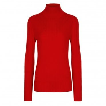 Roll Neck Knit in Red
