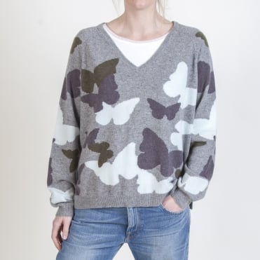 Butterfly Camo V Neck Knit in Multi