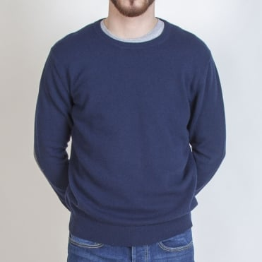 Elbow Patch Crew Jumper in Navy/Dark Grey