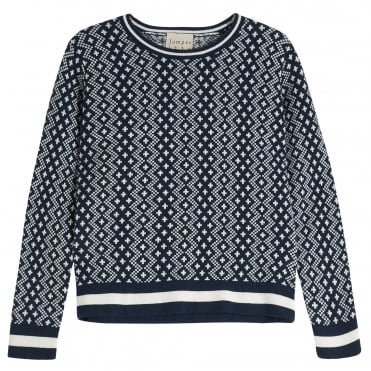 Fisherman Rib Crew Knit in Navy/Cream